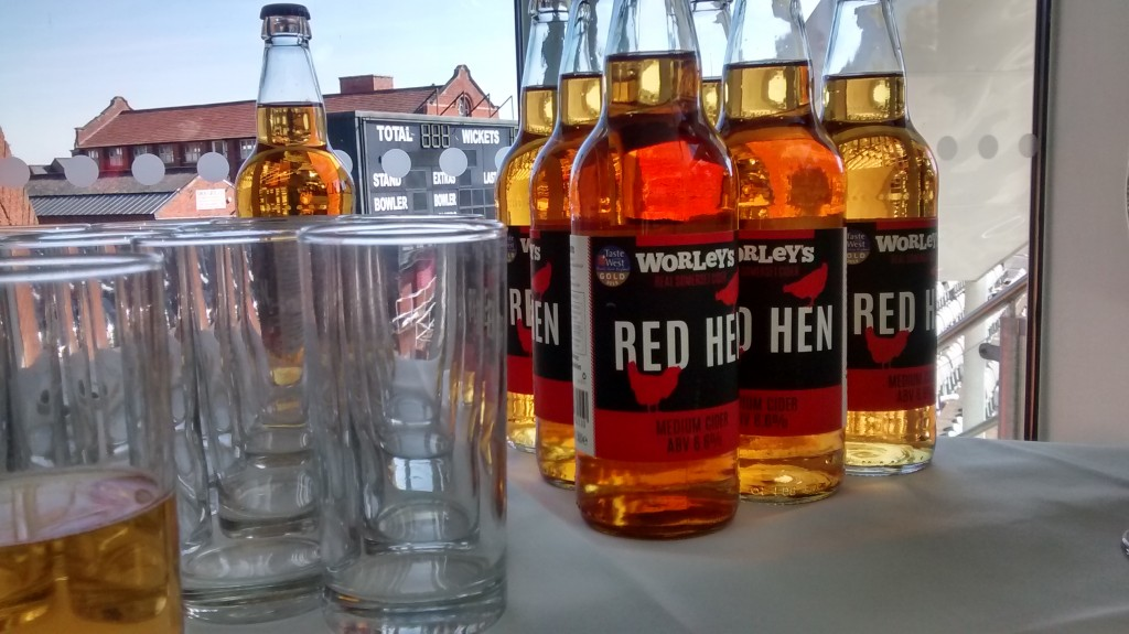 Red Hen on the bar at the Taste of the West awards dinner before picking up the Champion Cider for 2015 award.